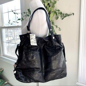 B. Makowsky Kyoto Tote Black Leather Shoulder Bag